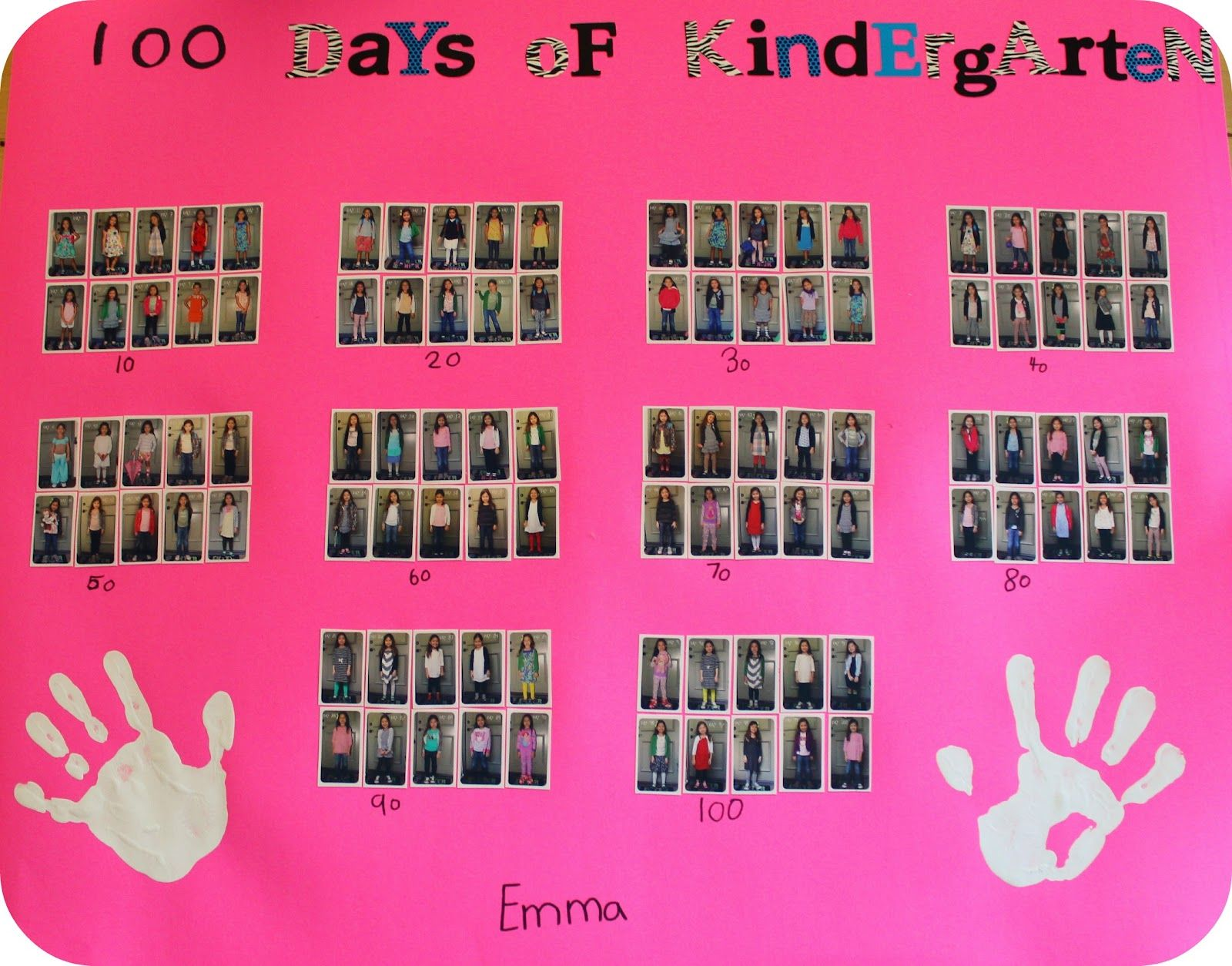 DiY School Project: 100 Days of Kindergarten Poster « theleftcoastmama