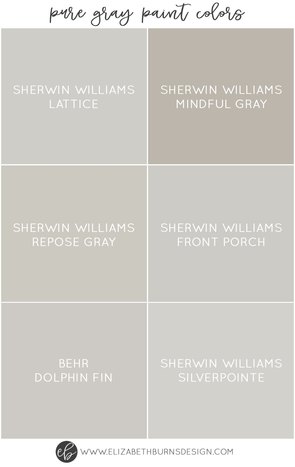 The Best Pure Grey Paint Colors Paint Guide Elizabeth Burns Design Raleigh Nc Interior Designer Grey Paint Colors Paint Colors For Home Gray Paint Colors Sherwin Williams