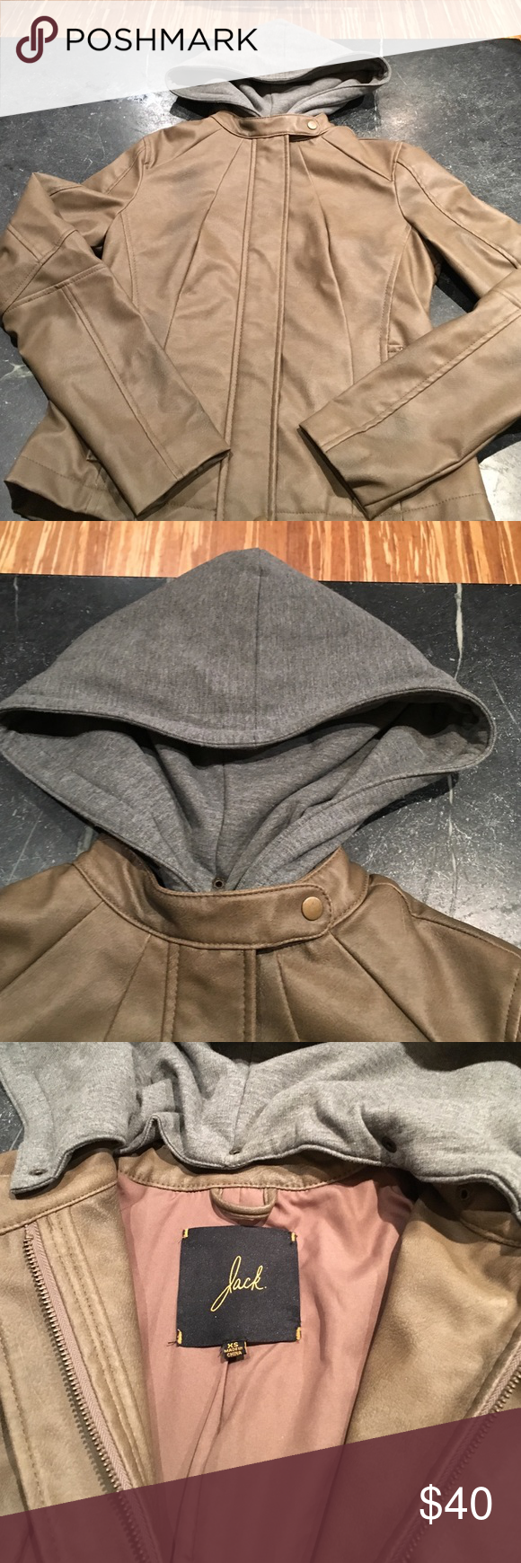 Price ✂️️Faux lather bomber jacket, removable hood In EUC condition!  Faux leather bomber jacket with removable cotton hood in size XS.  Purchased from a super cool, trendy boutique in Seattle!  Worn a few times With no signs of wear!  Super soft and trendy! Jack and Jones Jackets & Coats