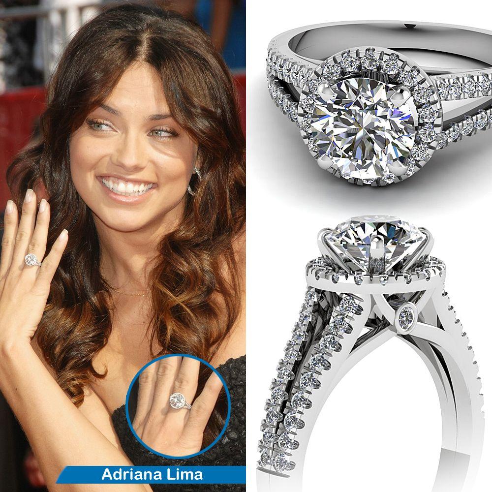 Adriana Lima S Engagement Ring Round Diamond Engagement Rings Celebrity Engagement Rings Black Diamond Ring Engagement