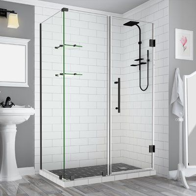 Aston Bromley Gs Frameless Corner Rectangle Hinged Shower