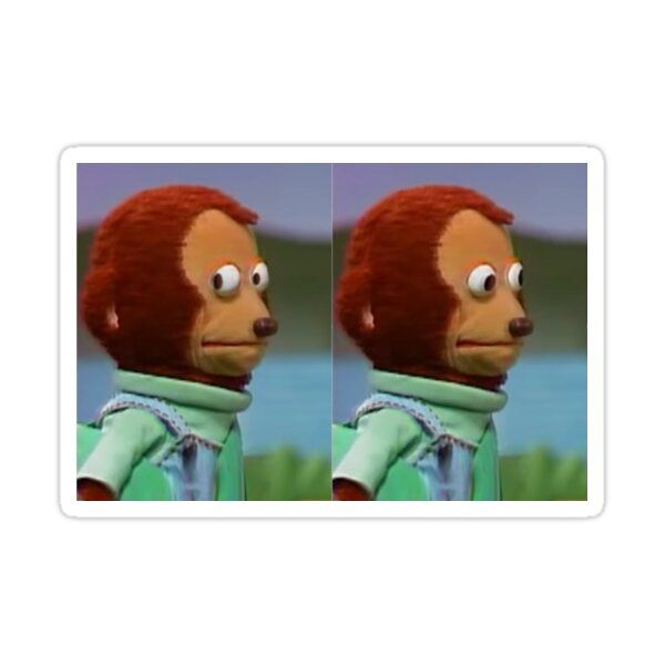 Monkey Looking Away Sticker By Becuzmdsaid In 2021 Meme Template Monkey Puppet Funny Reaction Pictures