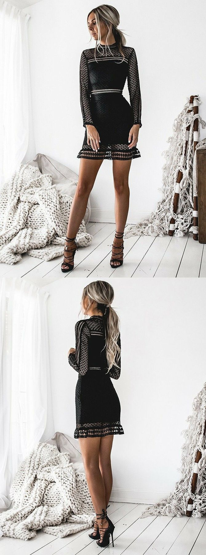 Sheath high neck long sleeves short black hollow lace homecoming