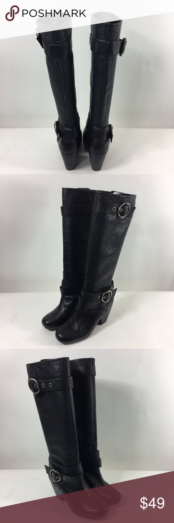 Lucky Brand Woman's Leather Buckle Knee High Boots Lucky Brand Woman's Knee High Black Leather Boots . Size 7.5 . Heel height 3.5 inches and front platform 1 inch. Shaft 14.5 inches shaft height and shaft width 13 inches . No major flaws or defects . Lucky Brand Shoes Heeled Boots