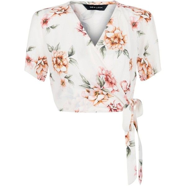 ae12a23582e97 New Look White Floral Print Wrap Front Tie Side Crop Top (172.440 IDR) ❤  liked on Polyvore featuring tops