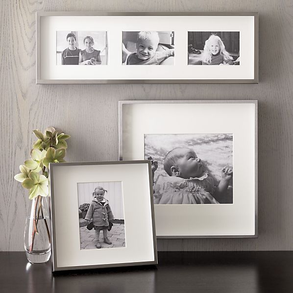 Brushed Silver Picture Frames Crate And Barrel Frames On Wall Silver Picture Frames Silver Walls