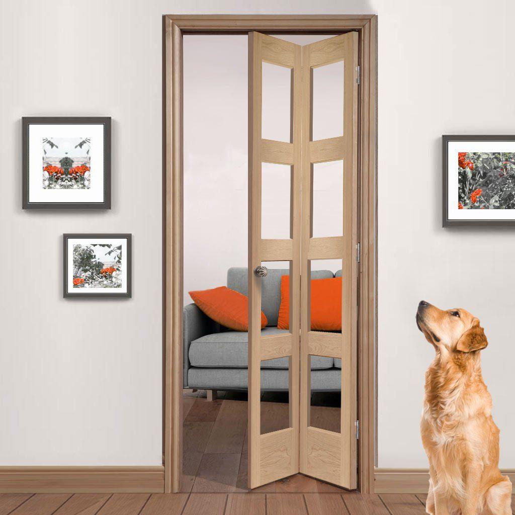 Shaker Oak Bifold Door Clear Glass In 2020 Oak Bifold Doors Room Divider Doors Internal Oak Bifold Doors