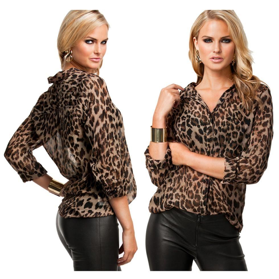 9664b6abcebb0 2018 Для женщин блузка с леопардовым принтом рубашка с длинным рукавом  Свободные Блузки Плюс Размеры шифоновая рубашка Camisa женская одежда