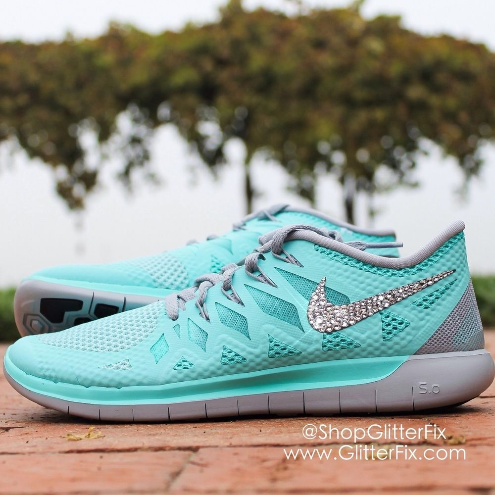 c5075e2a7dd2 Pre-Order Custom Nike Free 5.0 w Swarovski rhinestones - Turquoise ...