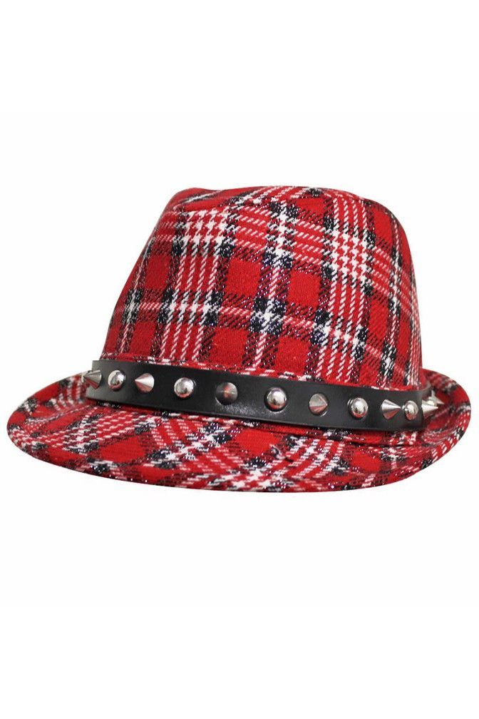 131a8e1a57572 Classic Plaid Print Fedora Hat With Spikes