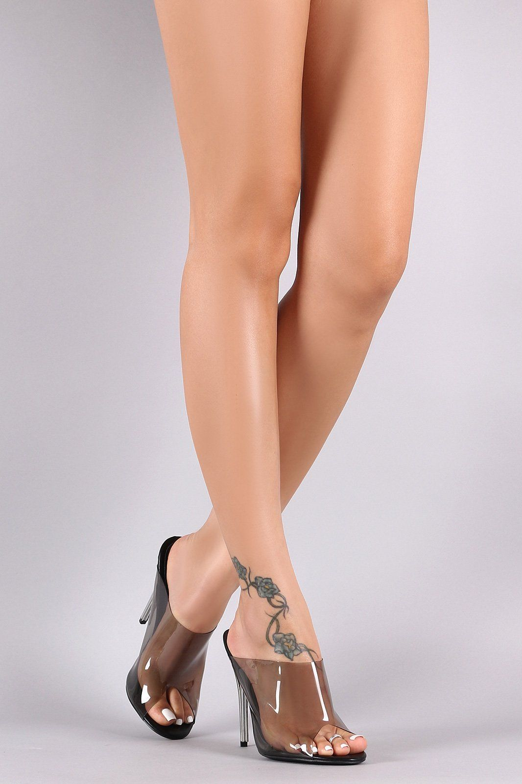 Transparent Peep Toe Mule Stiletto Heel in 2019