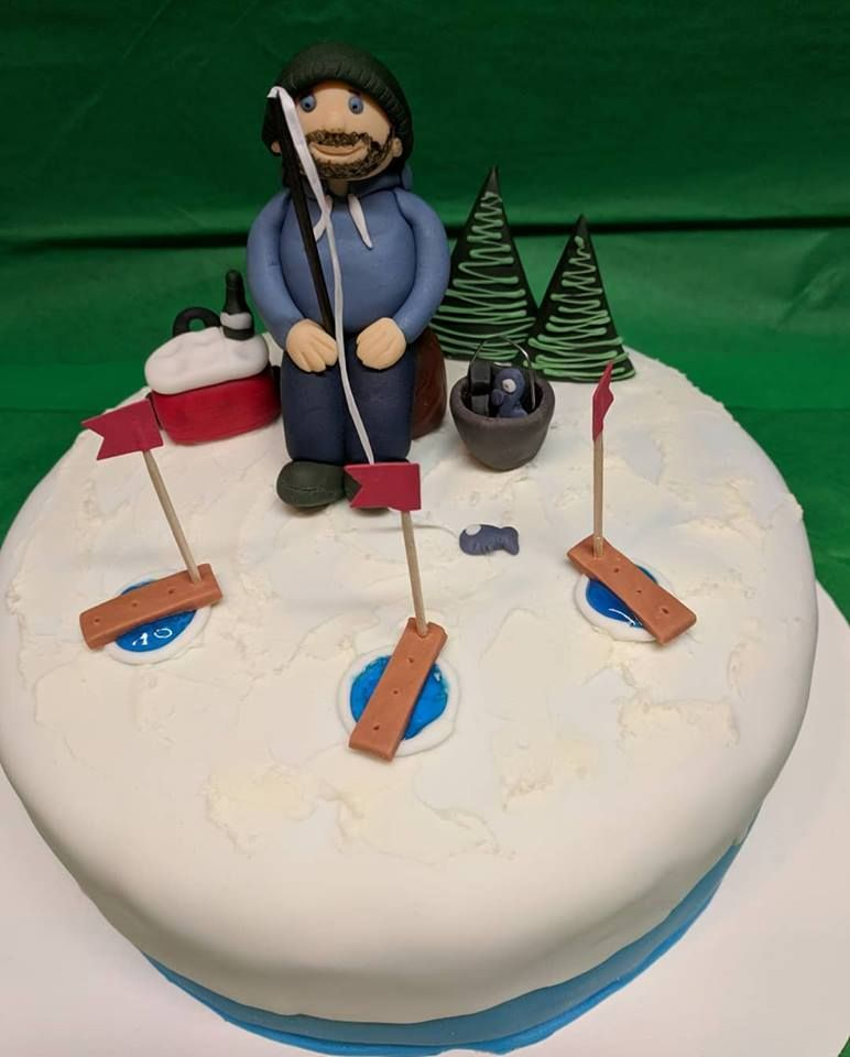 [Homemade] Ice Fishing Birthday Cake
