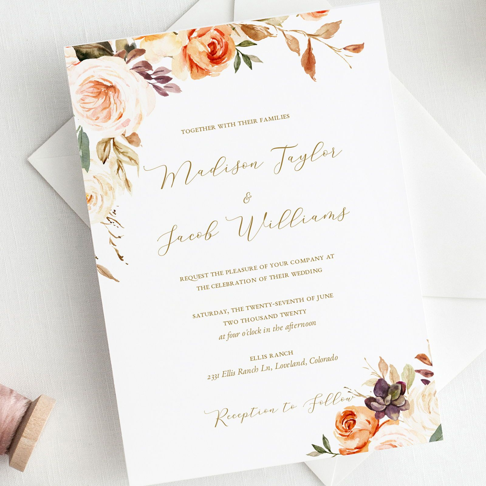 Fall Wedding Invitation Template Floral Wedding Invitation Etsy In 2020 Fall Wedding Invitations Wedding Invitations Wedding Invitation Templates