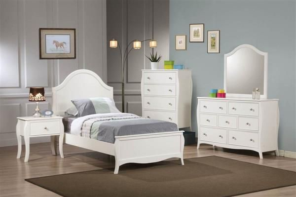 Dominique White Wood Master Bedroom Set Baby  Kids Pinterest