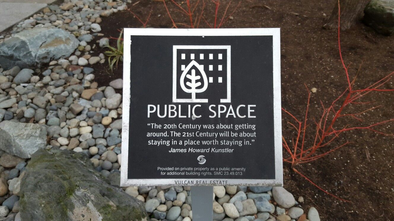 Privately Owned Public Space signage in South