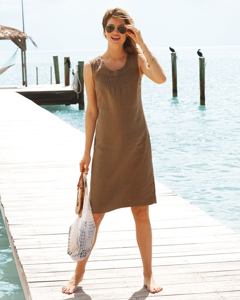 128.00 Laundered Linen Summer Dress This easy-to-wear simple ...