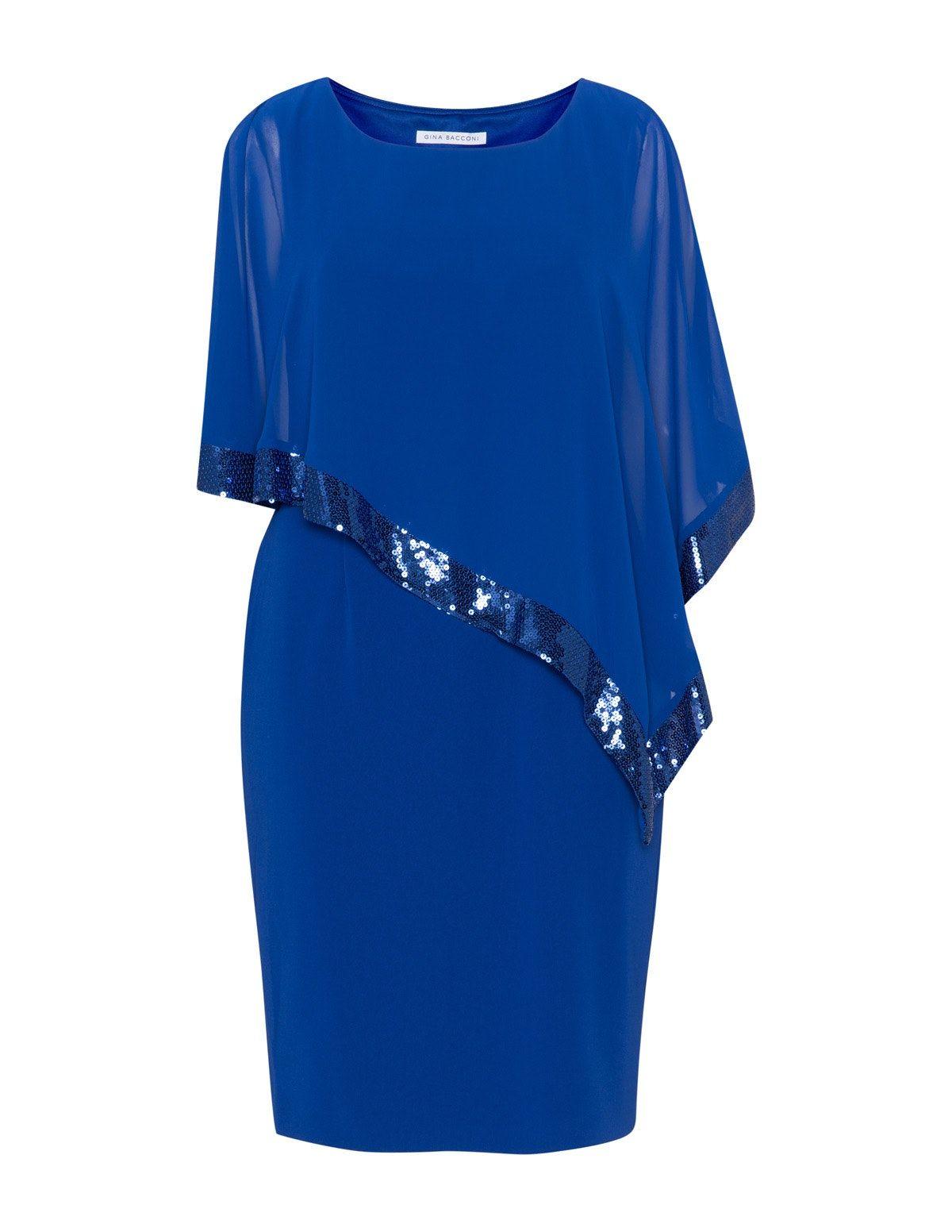 Gina Bacconi Crêpe-Kleid mit Überwurf in Blau  Kleider, Überwurf