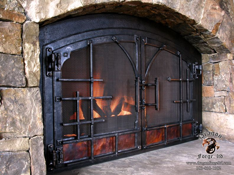 Forged Fireplace Doors With Forged Off Set And Copper Panel