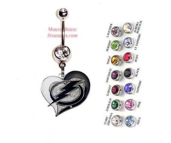 Tampa Bay Lightning Heart Logo Belly Ring. Authentic Charm on Your Choice of Gem Colors! NHL Tampa
