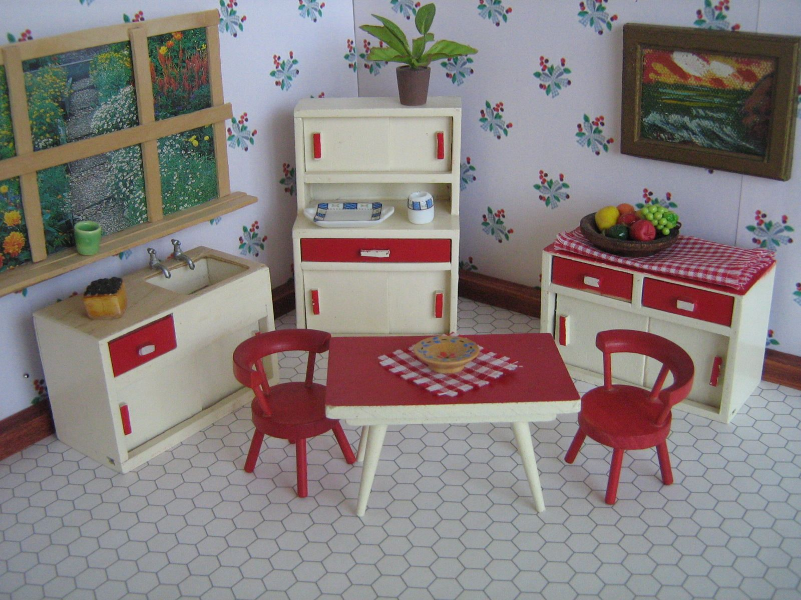 Vintage 40s Barton English Doll House Furniture Red And Cream