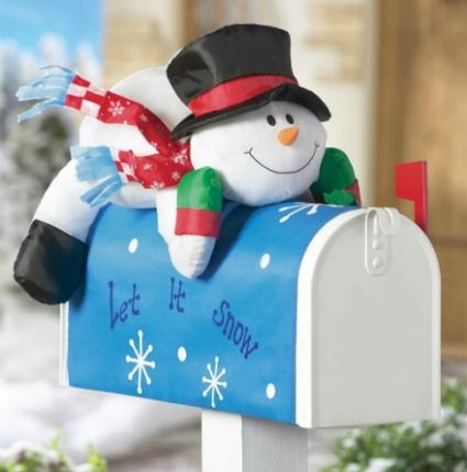 How cute is this snowman mailbox cover! Snowmen Are My Favorite - outdoor snowman christmas decorations