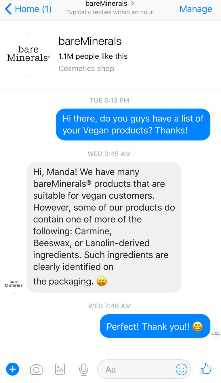 bare minerals vegan