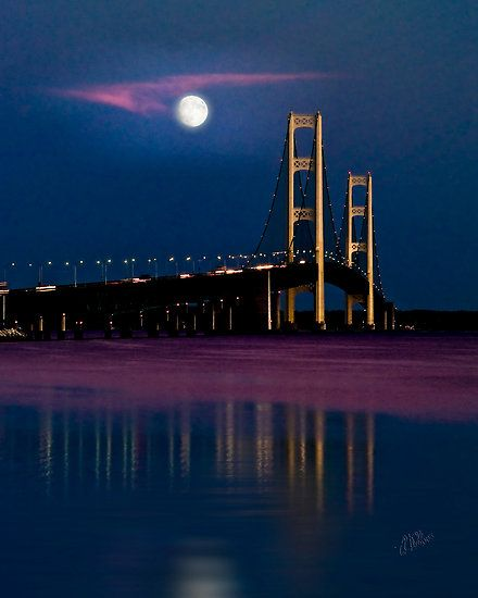 Places To Visit On Lake Michigan In Wisconsin: Mackinac Bridge By Moonlight