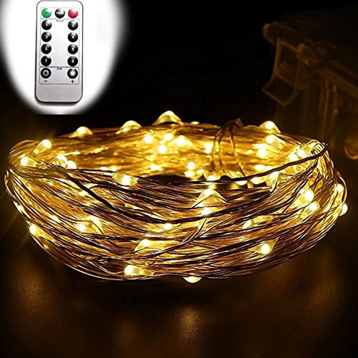 Dreamworth 10m 100 Leds Battery Operated Remote Contol Led String Flameless Flickering Candle Power Boost Circuit Lights Flexible Silver Coating Copper Wire