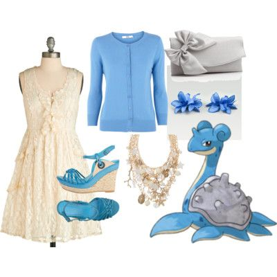 Lapras by catloverd featuring aldo jewelryMiss L Fire sheer dress, $55Oasis button up cardigan, £25Wedge sandals, $40Jessica McClintock bow clutch, $18Aldo jewelry, $9.98Flower hair accessory, $5.99
