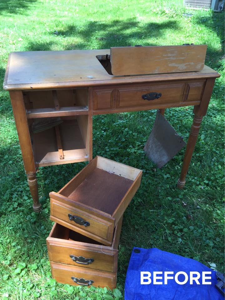 Beautiful old sewing machine/desk, stay tuned for an after photo!