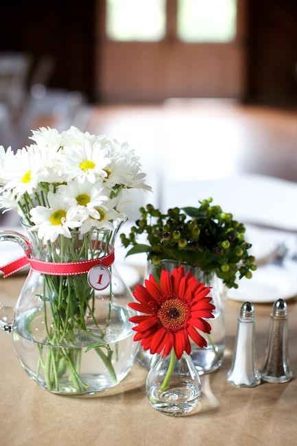 Barn wedding gerbera decor