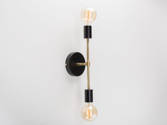 Liam Wall Sconce Black Raw Brass On Off Switch Plug In In 2020