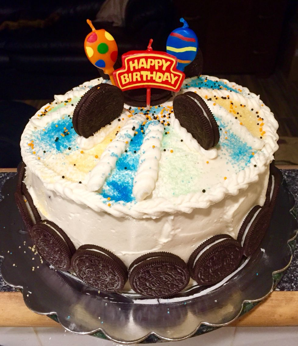 Chocolate cake with Oreo cream filling and butter cream icing.