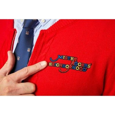 Surreal Entertainment Mister Rogers Neighborhood Collectible Adult Sweater Officially Licensed Red Cardigan Sweater Comfy Sweaters Zippered Cardigan