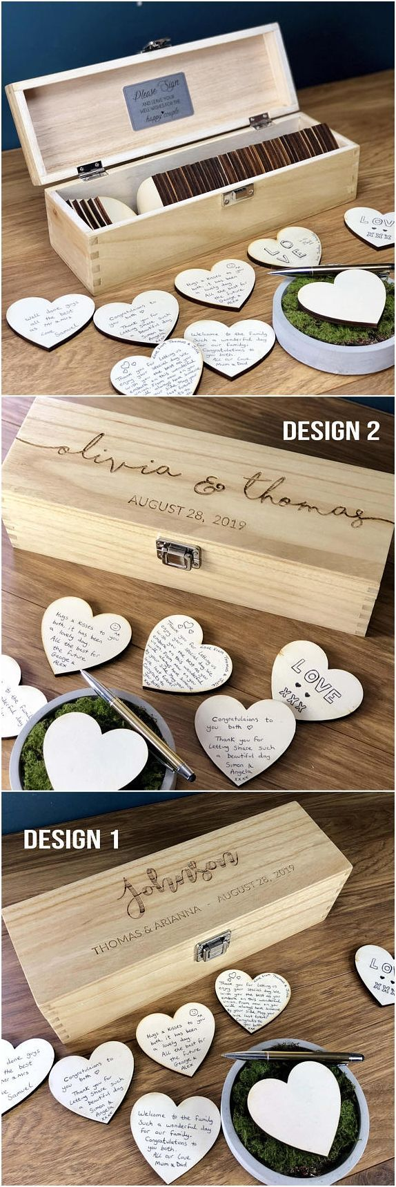 Wedding Guest Book - GuestBook Alternatives - Guestbook Sign - Personalised Custom Guest Book - Rustic Wedding Box - Hearts - Unique Ideas - #Alternatives #Book #Box #Custom #Guest #guestbook #hearts #Ideas #Personalised #rustic #sign #Unique #Wedding #caixasdemadeira