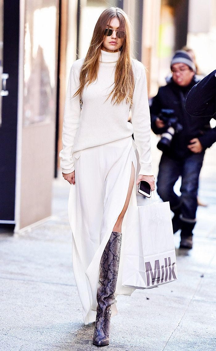 Gigi Hadid steps out in winter whites and a surprising new pant silhouette.