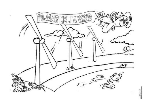 Coloring Page Wind Energy Windmill Solar Energy Wind Energy