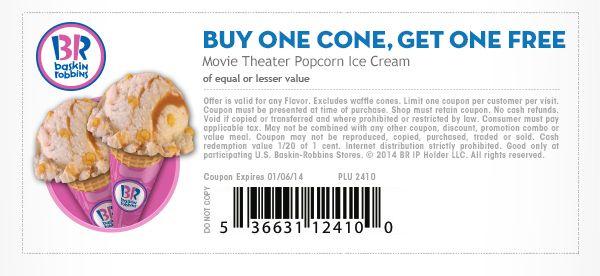 Free ice cream coupons