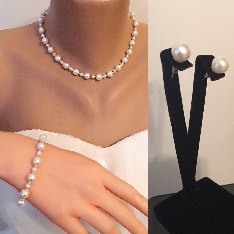 Pearl Set White Ivory Flower Girl Jewelry Little Girl Wedding