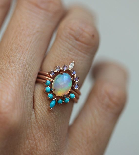 Ocean Engagement Ring Set Solitaire Fire Opal Moonstone Curved Turquoise Band Unique Wedding Three Minimalvs