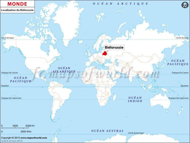 Localisation du Biélorussie sur la carte du monde | Pays: Carte de