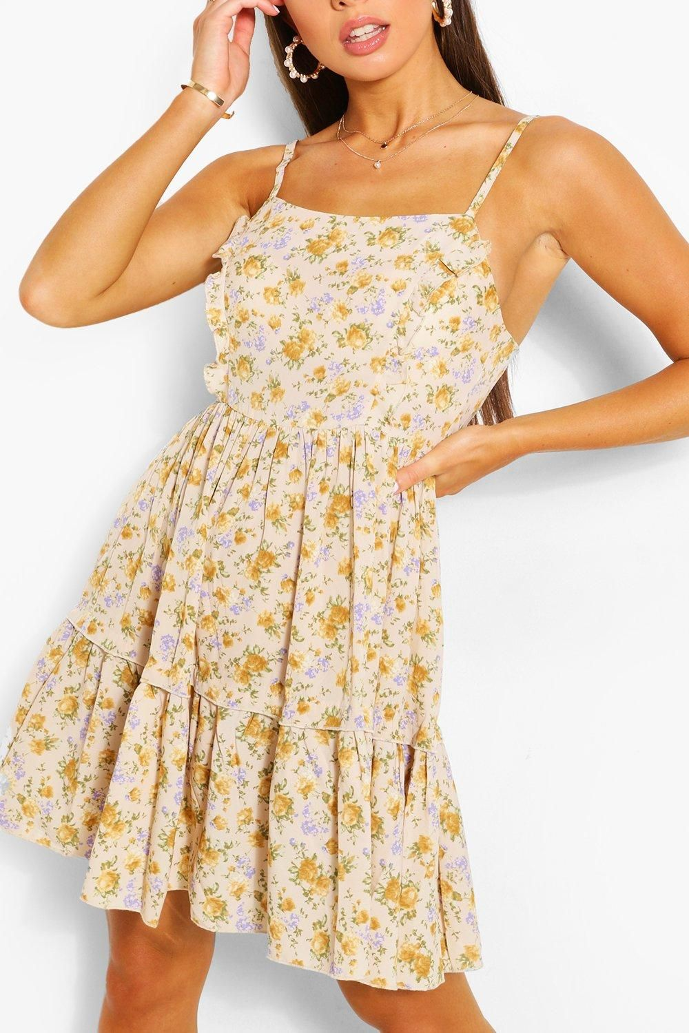 Floral Print Strappy Tiered Swing Dress Boohoo Swing Dress Indie Dresses Yellow Dress [ 1500 x 1000 Pixel ]