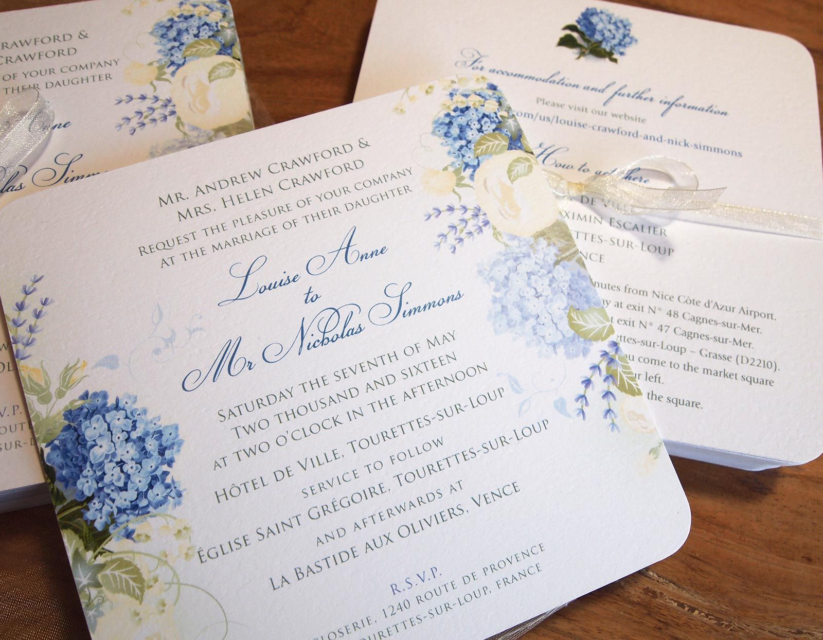 Blue Hydrangea & Roses Wedding Invitation with matching Information ...