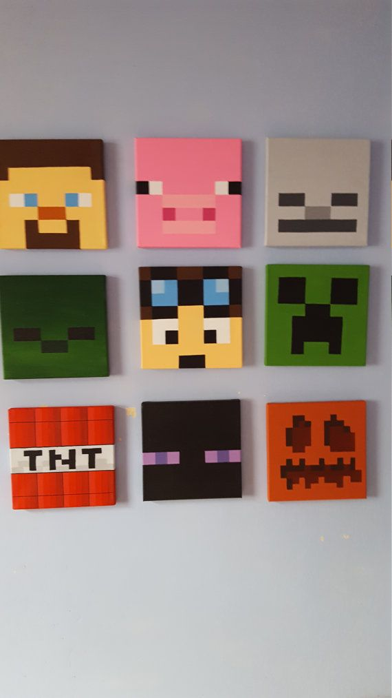 Minecraft Wall Art Set Of 9 Canvases Small 8 X 8 Minecraft Wall Painting Minecraft Minecraft Art