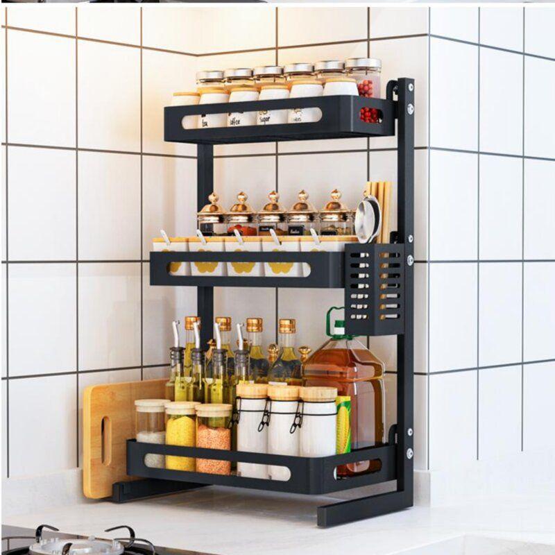 Prep Savour 3 Tier Kitchen Countertop 31 Jar Spice Rack Reviews Wayfair Spice Rack Kitchen Countertops Kitchen Spice Racks