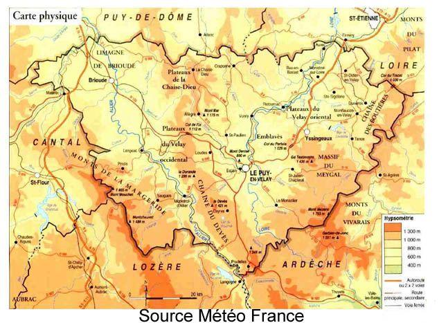 Climat Haute Loire Carte De France Haute Loire Loire Et