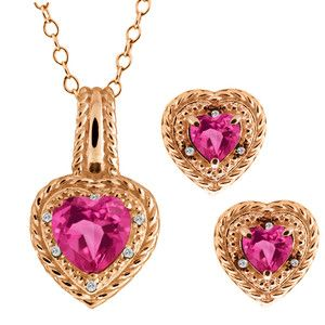 Image detail for -07 Ct Heart Shape Pink Mystic Topaz 14k Rose Gold Pendant Earrings ...