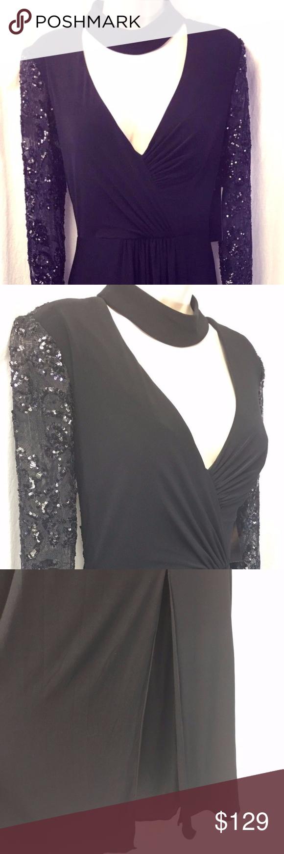 Betsy u adam black formal gown long sleeve black formal gown
