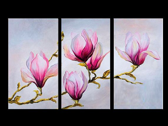 Pink flowers 3 panel painting triptych by lovecustomart on for 3 panel painting