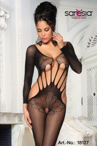 sexy Bodystocking schwarz Reizwäsche Dessous Body Netz Catsuit Teddy